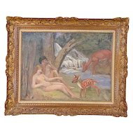 Original Signed Vintage Impressionist Oil/Canvas-Nude Couple in Pastoral Setting-Framed-Christie's Tag