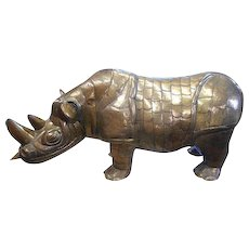 Vintage Mid 20th C. Signed/Numbered Limited Edition Brass Rhinoceros-Sergio Bustamante-Huge!
