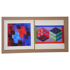 A Pair-Vintage Mid Century Abstract Op Art Heliogravures-Victor Vasarely