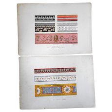 A Pair-Antique 18th C. French Design Motifs-Period Hand Color