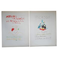 A Pair-Vintage Mid 20th C. Color Lithographs-Pablo Picasso-Printed By Mourlot-Paris