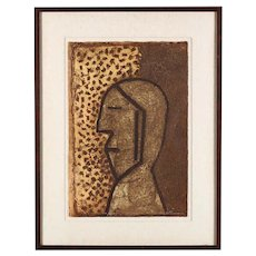 """Vintage Signed & Numbered Ltd. Ed. Abstract Mixograph-""""Perfil""""-Rufino Tamayo-Latin American Artist"""