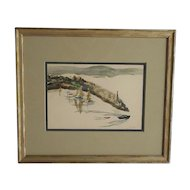 Original Vintage Mid 20th C. Signed Watercolor- New England Coastal View-Listed American Artist Paul Shively