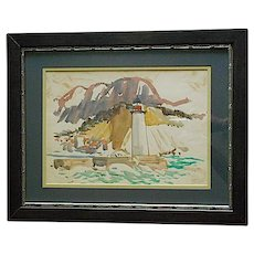 Original Vintage Mid 20th C. Signed Watercolor- French Coastal View With Lighthouse-Listed American Artist Paul Shively