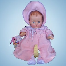 "Vintage 'MINT"" ""RARE RARE""  GORGEGOUS Effanbee Dy-Dee Doll Lou Eiderdown Coat & Bonnet for 20"" doll"