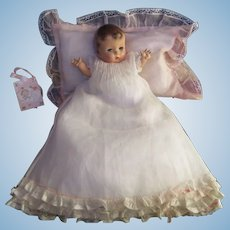 "Vintage ""MINT"" Effanbee Dy-Dee Doll White Organdy Christening Dress and matching slip for your 13"" Doll-Ruffles- Lace & Bows"