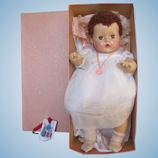 "Vintage GORGEOUS Effanbee Dy-Dee Doll 20"" Dark Hair Doll in Her Original Box, Dress, Pacifier, & Nite Gown- CHRISTMAS In JULY !!!"