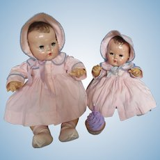 "Vintage ""VERY RARE"" Effanbee Dy-Dee Doll Pink Twill"" Matching"" Coats & Bonnets for your 15"" & 20"" Doll's"