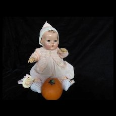 """Vintage Effanbee """"MINT"""" Dy-Dee Doll Jane Knit Sweater & Matching Bonnet & knit Booties for your 15"""" Doll"""