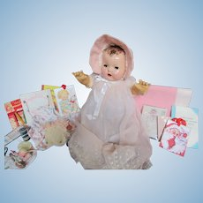 "Vintage 'RARE"" Gorgeous Effanbee Dy-Dee Doll Lou Mold I 20"" with Layette in her Christening Dress- MINT rubber Body- TWAS the Night Before Christmas ....."