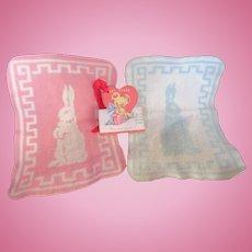 Vintage Effanbee Dy-Dee Doll Esmond Bunny Blanket's- Pink & Blue