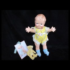 """Vintage """"MINT"""" Rose O'Neil Composition Scootles 13"""" Doll with Original Tag Romper"""