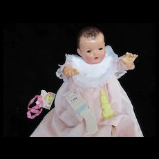 "Vintage""MINT"" Effanbee Dy-Dee Doll Lou Organdy Easter Bib, Socks & Bunny Rattle for our 20"" Doll"