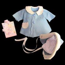 "Vintage ""MINT""  American Character Tiny Tears Felt Coat & Bonnet for your 11"" Doll"