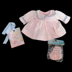 """Vintage VERY RARE Effanbee Dy-Dee Doll Coat & Socks for your 11"""" Doll- Light mark on end of sleeve"""
