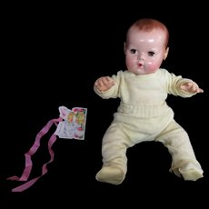 """Vintage Effanbee Dy-Dee Doll Jane Health Knit Pajamas for your 15"""" Doll- One Tiny mark on bottom- Easter Yellow"""