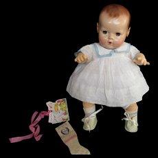 "Vintage Effanbee Dy-Dee Doll Jane Oil Cloth Shoes & Rayon Socks for your 15"" Doll- Little split on side"