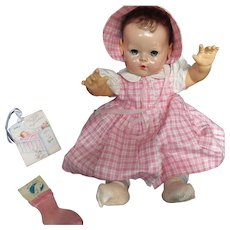 "Vintage Effanbee Dy-Dee Doll Polish Cotton Dress & Bonnet & socks for your 20"" Doll - a few tiny age spot - Red Tag Sale Item"