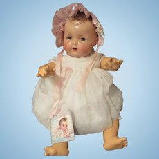 "Vintage Effanbee Dy-Dee Doll Lou Pink Silk Bonnet for your 20""- two tiny holes bottom back"
