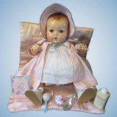 "Vintage"" MINTY"" Effanbee Dy-Dee Doll Jane 15"" with Original Dress, RARE Coat & Bonnet & Bracelet- ""MINT Rubber Body- two tiny marks on under edge of head"