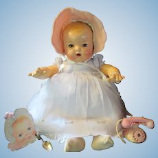 "Vintage Effanbee Dy-Dee Doll Mold I Lou 20"" - RESTORED Blonde hair ""MINT"" Body - Root Beer Eyes"