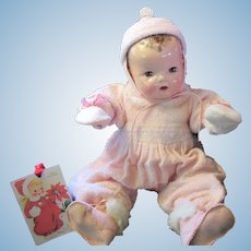 Vintage Effanbee Dy-Dee Doll Lou Snow suit, Bonnet, wool booties & Mittens