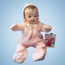 """Vintage Effanbee Dy-Dee Doll Lou Pink Snow Suit & Matching Bonnet & mittens for your 20"""" Doll"""