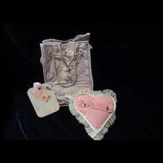 Vintage Effanbee Dy-Dee Doll Pink Diaper Bag & heart Bottle holder
