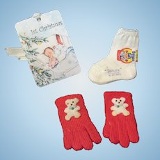 """Vintage """"MINT"""" Effanbee Dy-Dee Doll Dolsox & Mittens for your 15""""-20"""" Doll"""