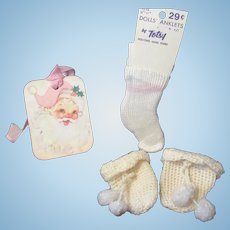 "Vintage ""MINT"" Effanbee Dy-Dee Doll Rayon Socks & Mittens for your 15"" Doll"