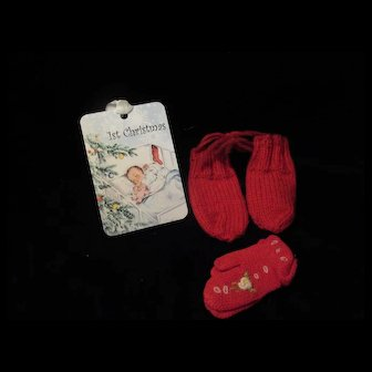 "Vintage ""MINT"" Effanbee Dy-Dee Doll Christmas Mittens for your 15"" & 20"" Doll"