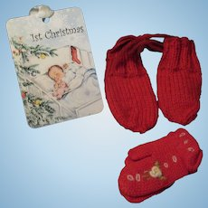 """Vintage """"MINT"""" Effanbee Dy-Dee Doll Christmas Mittens for your 15"""" & 20"""" Doll"""