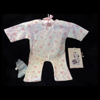 "Vintage Effanbee Dy-Dee Doll Lou pajamas for 20"" Doll- Faint yellow on one leg- very faint yellow on top back shoulder"