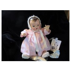 """Vintage Effanbee Dy-Dee Doll  LOU """"EXTREMELY RARE"""" FAO Schwartz Silk Coat & Angora bonnet with pearls- Rayon Socks 20"""" Doll"""