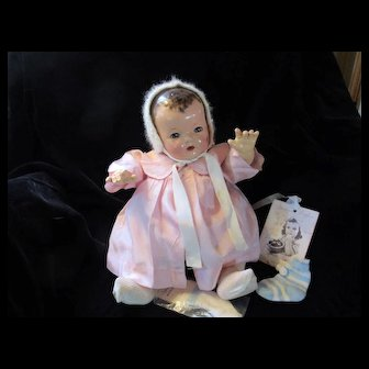 "Vintage Effanbee Dy-Dee Doll  LOU ""EXTREMELY RARE"" FAO Schwartz Silk Coat & Angora bonnet with pearls- Rayon Socks 20"" Doll"
