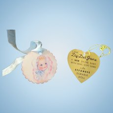 "Vintage Effanbee Dy-Dee Doll Jane Gold Heart tag for your 15"" Doll- ""With Real Soft Ears"""