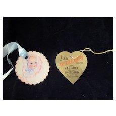 "Vintage  Original Effanbee Dy-Dee Baby Jane Gold Heart Tag- 15"" Doll- earliest 15"" Doll tag"
