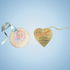 "Vintage  Original Effanbee Dy-Dee Baby Jane Gold Heart Tag- 15"" Doll- earliest 15"" Doll tag"