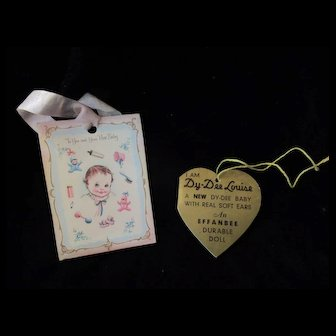 "Vintage Original Effanbee Dy-Dee Doll Lou Heart Gold tag for your 20"" Doll- ""With Real Soft Ears"""