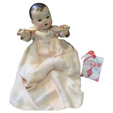 """Vintage """"RARE"""" Effanbee Dy-Dee Doll Lou Christening Robe for 20"""" Doll- Pale Peach- tiny pin holes back collar, two age spots on front bottom"""