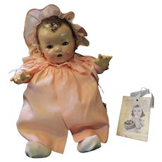 "Vintage""GORGEGOUS"" Effanbee Dy-Dee Doll Lou Pink Silk Peach Coat & Bonnet for your 20"" Doll"