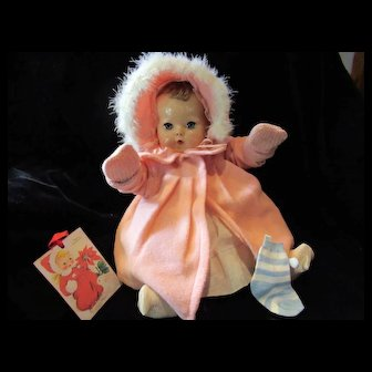 GORGEOUS Effanbee Dy-Dee Doll Lou Eiderdown Coat & Bonnet- Collar has little fraying on the underside stay which shows on the front of the collar a little