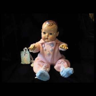 "Vintage ""RARE"" Effanbee Dy-Dee Doll Eiderdown Molly-'es Snow Suit for your 15"" Doll with added booties"