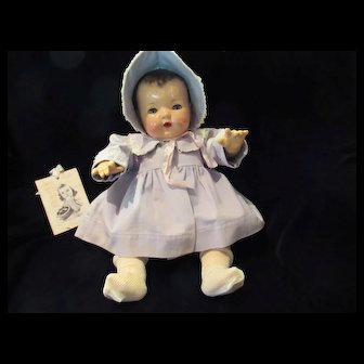 "Vintage Effanbee Dy-Dee Doll  Lou Blue Coat & Bonnet for your 20"" Doll -back sleeve seam and one back sleeve little wear"
