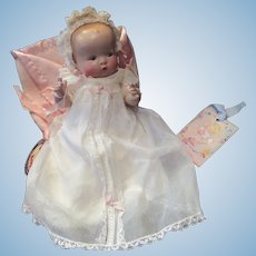 """Vintage Composition My Dream Baby 10""""- Original Dress , Bonnet & Bunting, New hang tag"""