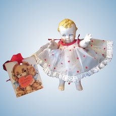 """Vintage """"MINT"""" Rose O'Neill Bisque Scootles Doll 4 1/2""""- Valentine Doll Dress"""