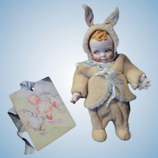 """Vintage Rose O'Neill Bisque Scootles Doll - in Eiderdown Bunny Snow Suit-  4 1/2"""" tall"""