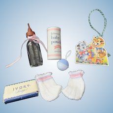 Vintage Tiny Tears American Character Bottle, Booties, soap & powder & Rattle