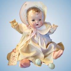 "Vintage  Effanbee Dy-Dee Doll Lou Coat & Bonnet & rattle for your 20"" Doll"