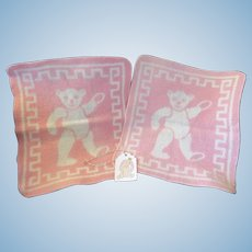 """Vintage Effanbee Dy-Dee Doll """"TWO"""" BEAR Esmond blankets-looks like have been washed- one tiny mark"""